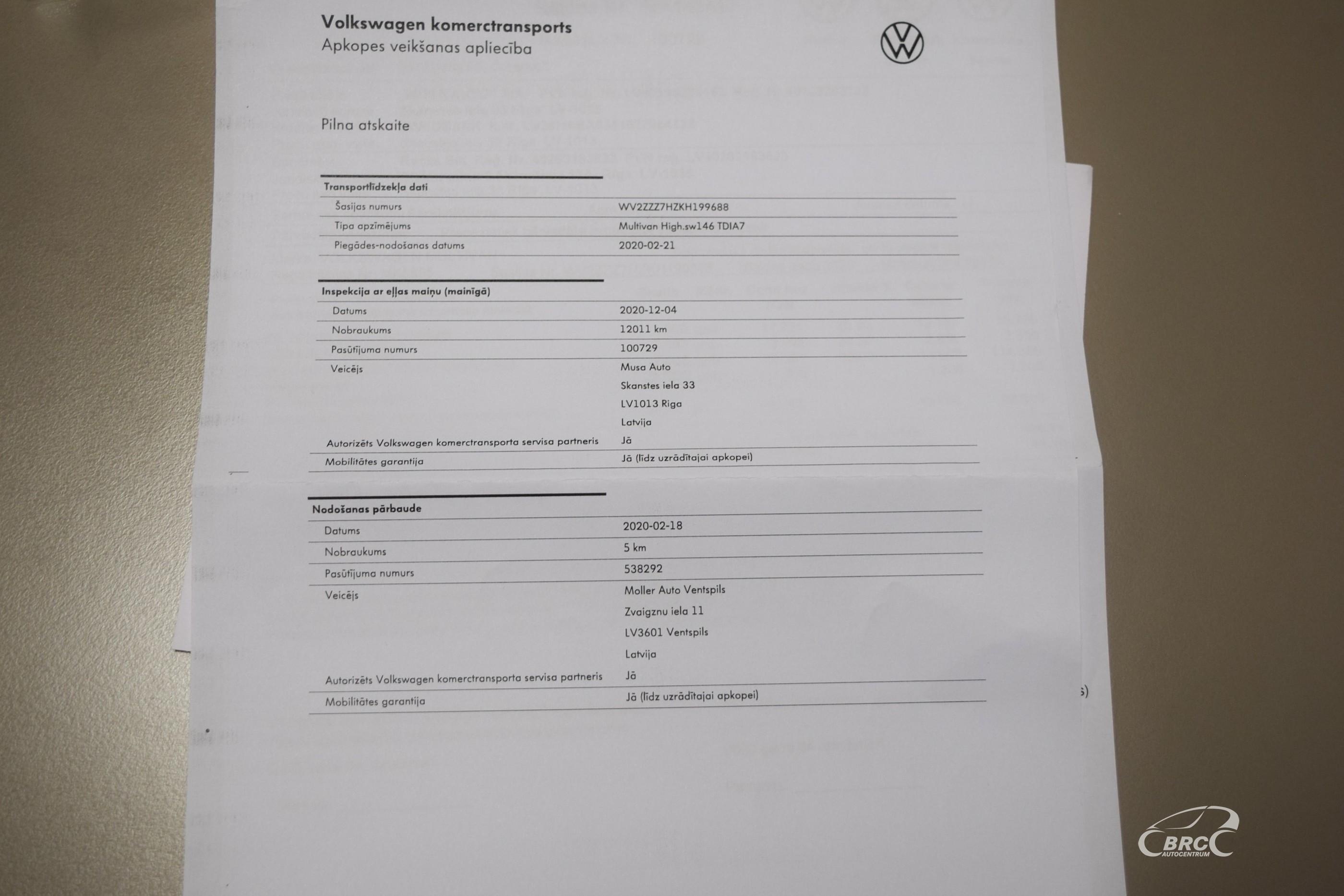Volkswagen Multivan Highline DSG TDi 7 seats